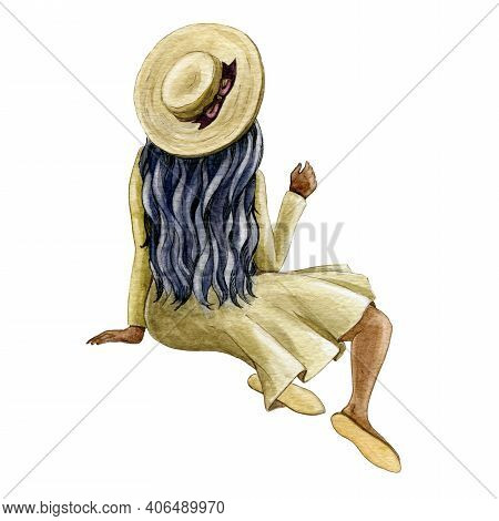 Sitting Woman Figure Watercolor Illustration. Relaxed Black Skin Girl With Long Hair And Hat. Happy
