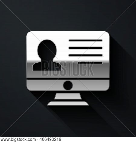 Silver Computer Monitor With Resume Icon Isolated On Black Background. Cv Application. Searching Pro