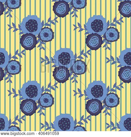 Set Of Vector Flowers And Leaves Seamless Patternblue Yellow Background. Trios Of Hand Drawn Scribbl