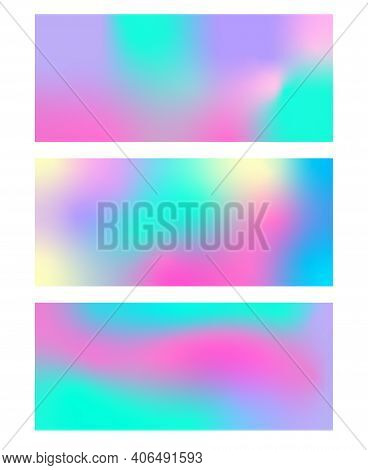 Set Of Abstract Iridescent Background Or Banner Of Different Pastel Colors. Design For Backdrop, Pho