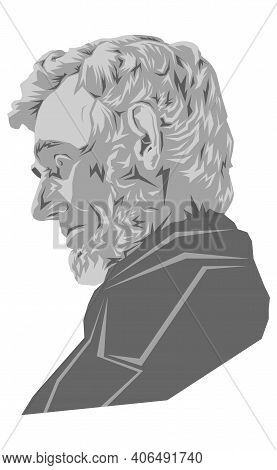 A Vector Illustration Of A Portrait Of The Sixteenth President Of The Usa Abraham Lincoln On An Whit