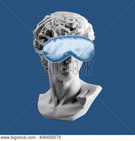 Gypsum Statue Of David Head In Blue Sleep Mask. Plaster Copy Of Davids Head In Sleeping Mask, Ancien