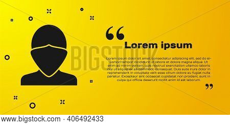 Black Vandal Icon Isolated On Yellow Background. Vector