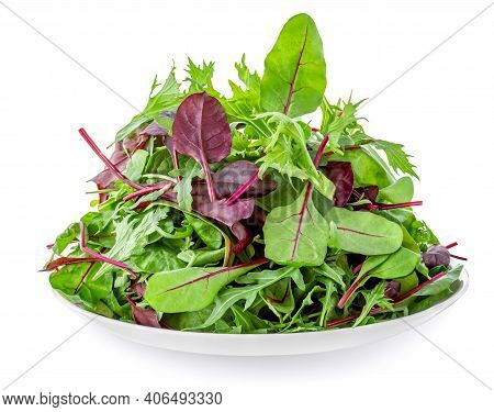 Salad Leaves On A Plate  Isolated On White Background. Mix Fresh Leaves Of Arugula, Lettuce, Frisee,