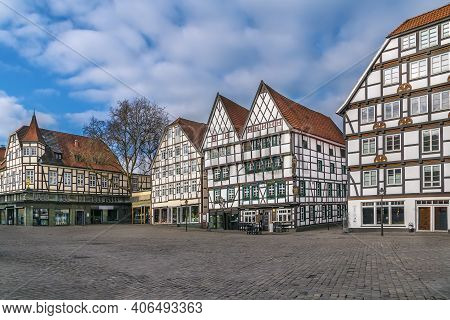 Market Square With Decorative Half-timbered Houses In Soest, Germany