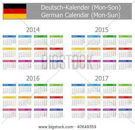 2014-2017 Type-1 German Calendar Mon-sun