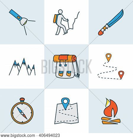 Tourism Icons Colored Line Set With Destination, Compass, Mountains And Other Climbing Elements. Iso
