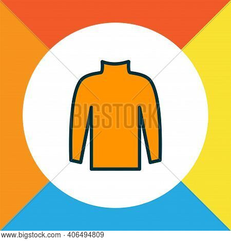 Turtleneck Sweater Icon Colored Line Symbol. Premium Quality Isolated Pullover Element In Trendy Sty