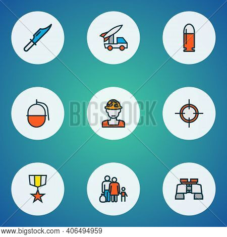 Battle Icons Colored Line Set With Military Knife, Grenade, Refugee And Other Ballistic Elements. Is