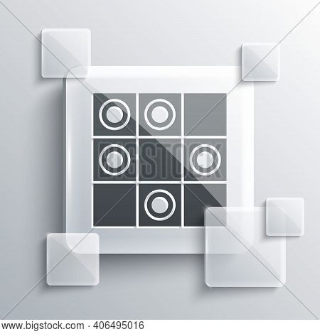 Grey Board Game Of Checkers Icon Isolated On Grey Background. Ancient Intellectual Board Game. Chess