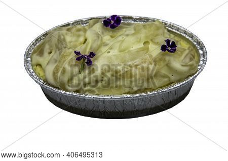 Fusion Thai Sweet Dessert : Toddy Palm Cheese Cake Isolated On White Background With Clipping Path.