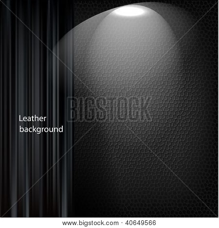 Leather background with black curtain. Vector.