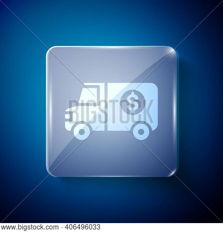 White Armored Truck Icon Isolated On Blue Background. Square Glass Panels. Vector