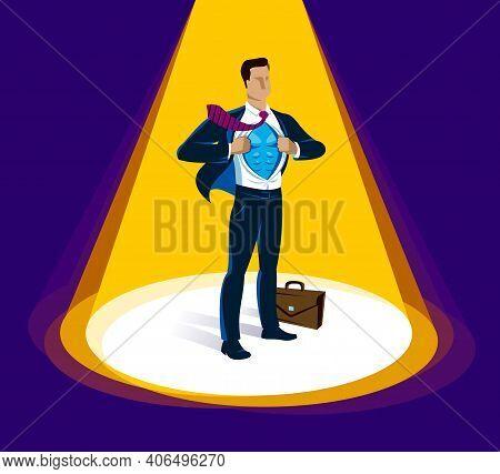 Businessman Standing On Podium Vector Illustration, Success And Career Progress Concept, Leadership