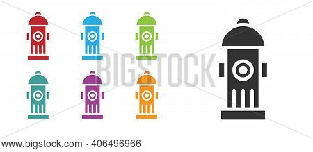 Black Fire Hydrant Icon Isolated On White Background. Set Icons Colorful. Vector
