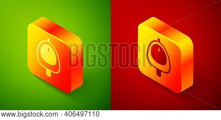 Isometric Toilet Urinal Or Pissoir Icon Isolated On Green And Red Background. Urinal In Male Toilet.