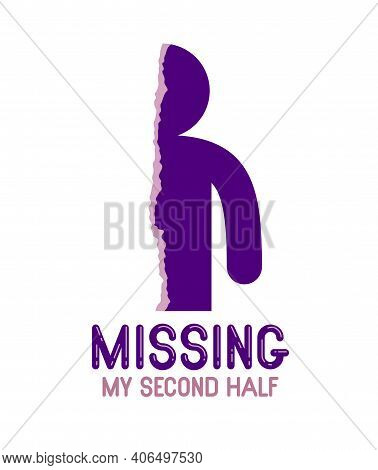 Half Of Man Icon Lonely And Missing His Mate Lover Girlfriend, Divorce Breakup And Loneliness Vector
