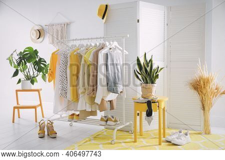 Dressing Room Interior With Clothing Rack And Houseplants