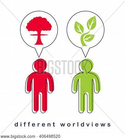 Different Worldviews Concept With Two Men Good And Bad Displaying Their Minds With Bomb Exploding An