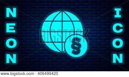 Glowing Neon International Law Icon Isolated On Brick Wall Background. Global Law Logo. Legal Justic