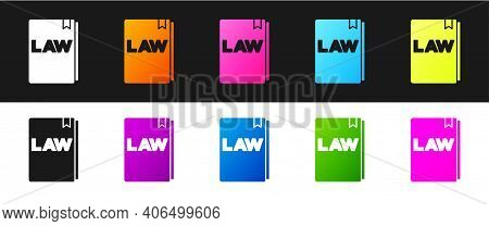 Set Law Book Icon Isolated On Black And White Background. Legal Judge Book. Judgment Concept. Vector