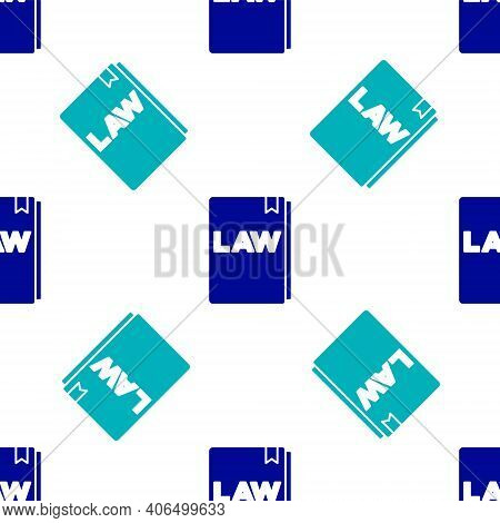 Blue Law Book Icon Isolated Seamless Pattern On White Background. Legal Judge Book. Judgment Concept
