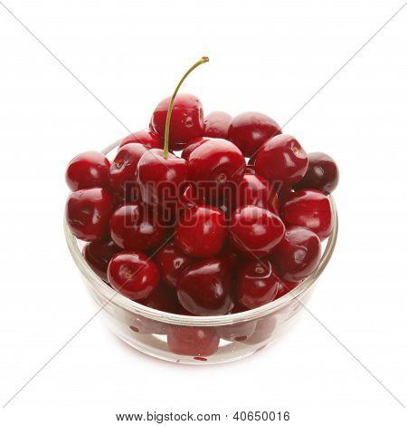 Sweet cherries in glass ware