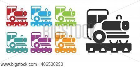 Black Vintage Locomotive Icon Isolated On White Background. Steam Locomotive. Set Icons Colorful. Ve