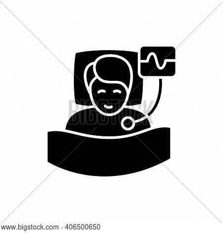 Polysomnography Glyph Icon. Heart, Sleep Examination. Healthy Sleeping Concept. Cardiac Problems Tre