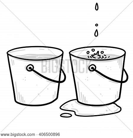 Bucket. Drops Of Water And A Leak. Full Pail. Sketch Dooodle Illustration