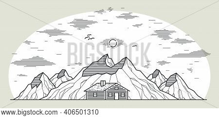 Cabin In Mountains Linear Vector Nature Illustration Isolated On White, Log Cabin Cottage For Rest,