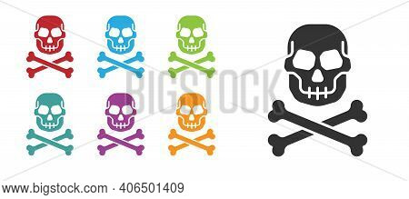 Black Skull On Crossbones Icon Isolated On White Background. Happy Halloween Party. Set Icons Colorf