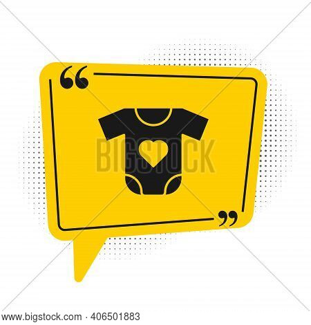 Black Baby Clothes Icon Isolated On White Background. Baby Clothing For Baby Girl And Boy. Baby Body
