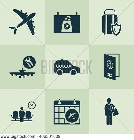 Flight Icons Set With Flight Date, Passport, Waiting Room And Other Tourist Elements. Isolated Illus