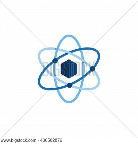 Hexagonal Molecule Badge. Molecular Structure Logo, Molecular Grids And Chemistry Hexagon Molecules