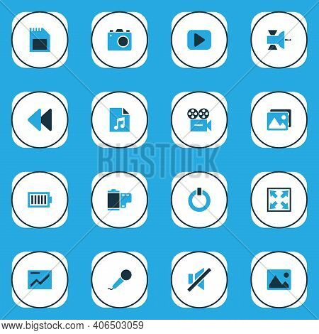 Multimedia Icons Colored Set With Karaoke, Rewind, Sd Card And Other Gallery Elements. Isolated Illu