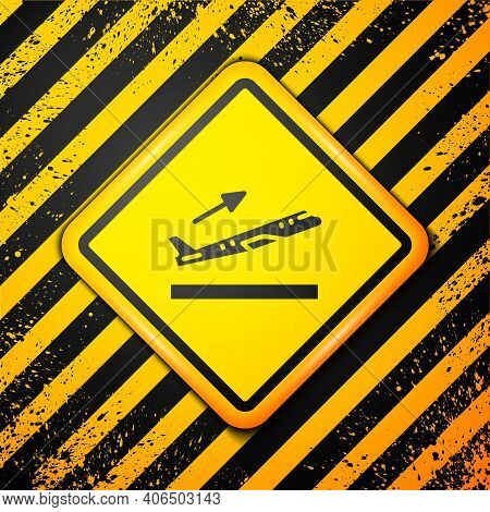 Black Plane Takeoff Icon Isolated On Yellow Background. Airplane Transport Symbol. Warning Sign. Vec