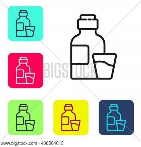 Black Line Bottle Of Medicine Syrup And Dose Measuring Cup Solid Icon Isolated On White Background.