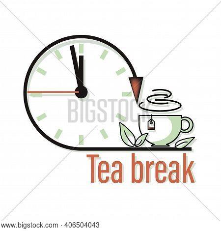 Tea Break. Clock, Tea Time Icon, Emblem. Green Tea. Cup, Green Fresh Mint Leaves. Design For Web, Ap