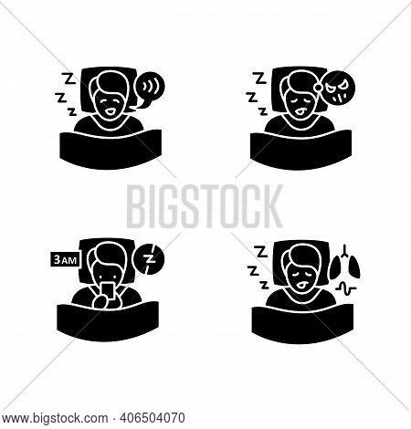 Sleep Disorder Glyph Icons Set. Healthy Sleeping Concept. General Symptoms .sleep Problems Treatment