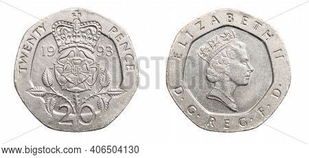 Twenty Pence Coin Isolated On White Background