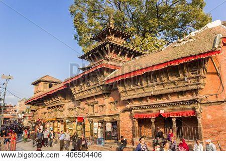 Kathmandu, Nepal - November 13, 2019: Street With Historic Buildings At The Durbar Square In Kathman