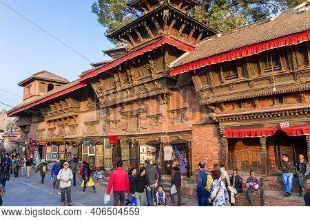 Kathmandu, Nepal - November 13, 2019: People Walking The Street Of Durbar Square In Kathmandu, Nepal