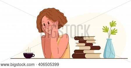 Young Woman Office Worker Having Coffee Break During A Day Vector Flat Illustration Isolated, Relaxe
