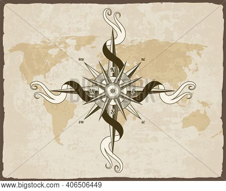 Vintage nautical compass. Old world map on  paper texture with grunge border frame. Wind rose