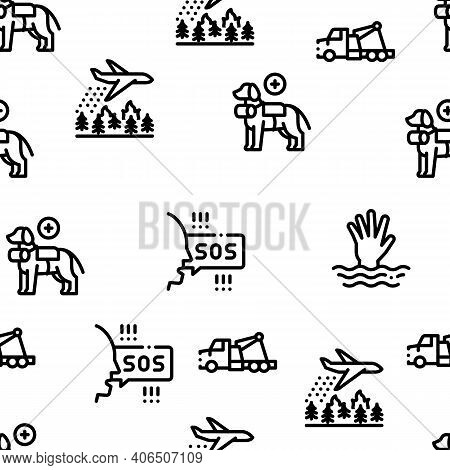 Rescuer Equipment Seamless Pattern Vector Thin Line. Illustrations