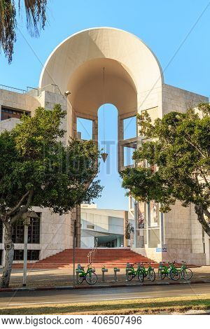 Tel Aviv, Israel - September 17, 2017: This Is A Fragment Of The Modern Architecture Of The Building