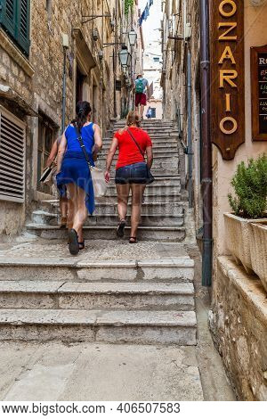 Dubrovnik, Croatia - September 8, 2016: These Are Unidentified People On A Small Staircase Street Of