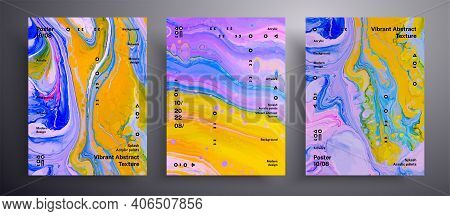 Abstract Acrylic Placard, Fluid Art Vector Texture Set. Trendy Background That Applicable For Design