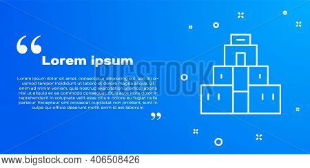 White Line Chichen Itza In Mayan Icon Isolated On Blue Background. Ancient Mayan Pyramid. Famous Mon